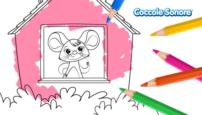 Topolina con occhiali dentro la casetta, disegni da colorare, festa dei nonni, Coccole Sonore