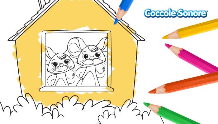 Topolini con occhiali dentro la casetta, disegni da colorare, festa dei nonni, Coccole Sonore
