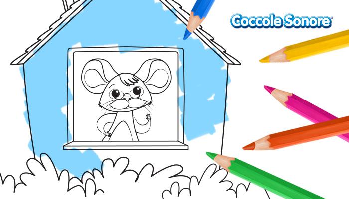 Topolino con baffi e occhiali dentro la casetta, disegni da colorare, festa dei nonni, Coccole Sonore