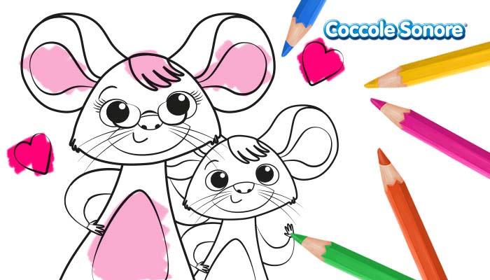 Topino con la nonna, disegni da colorare, festa dei nonni, Coccole Sonore