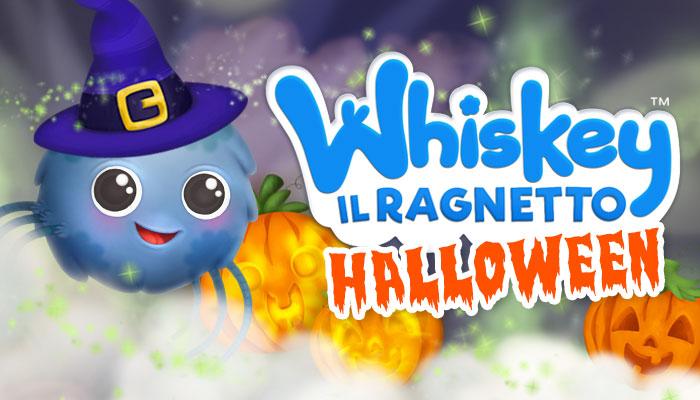 Whiskey il Ragnetto con cappello da strega, zucche. Halloween, Coccole Sonore
