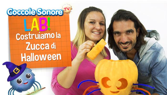 Federica e Alessandro Conte con zucca di Halloween a forma di Whiskey il ragnetto, Coccole Sonore