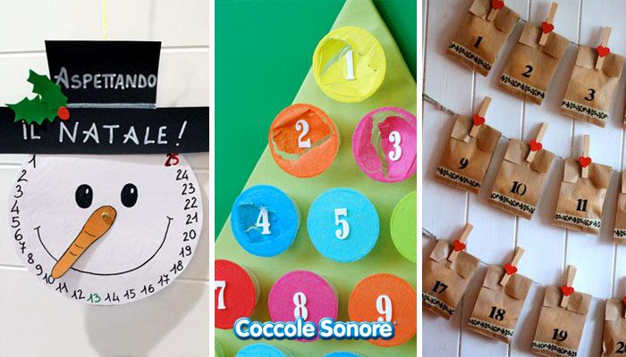 calendari dell'avvento natale, lavoretti per bambini, pupazzo di neve di cartoncino, albero di natale con bicchieri di carta bustine di carta, coccole sonore
