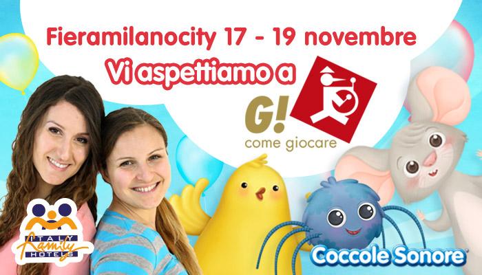 G come giocare, Milano, Greta e Federica di Coccole Sonore, Whiskey il ragnetto, Logo Italy Family Hotels