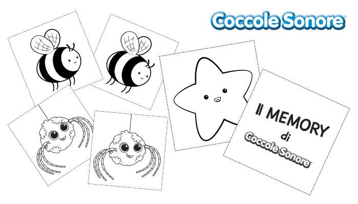 carte in bianco e nero da colorare gioco memory, Coccole Sonore