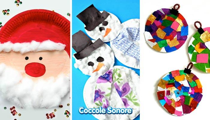 babbo natale, pupazzo di neve e palline di natale realizzate con i piatti di carta