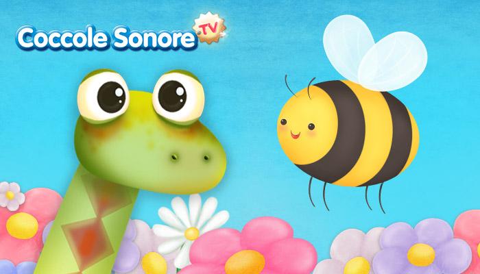 Disegno serpente e ape tra i fiori