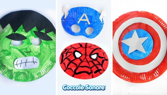 maschera di hulk spiderman, capitan america e scudo di capitan america fatti dai bambini con i piatti di carta