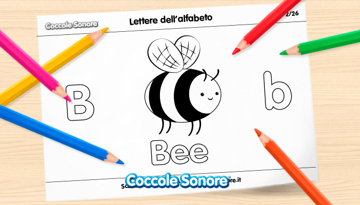 card scaricabili da colorare dell'alfabeto in inglese lettera b come bee e disegno di ape
