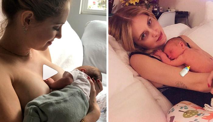 chiara ferragni allatta leone ragazza bionda con neonato