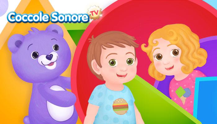 Disegno orsetto viola con due bambini, forme colorate, canzoncine coccole sonore, canzoncine pampers