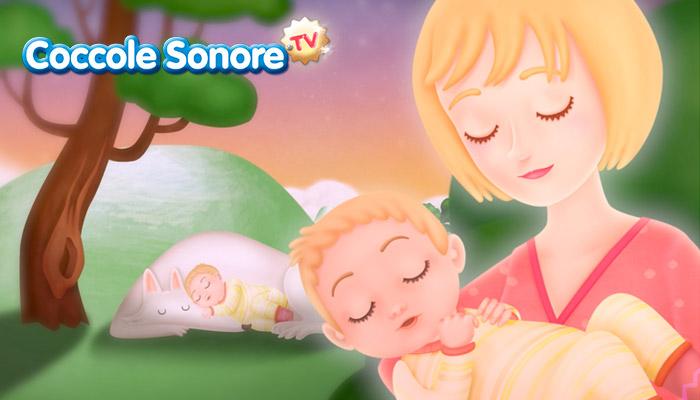 disegno, mamma tiene in braccio il bambino che dorme, Coccole Sonore, ninna nanna, dormi piccino