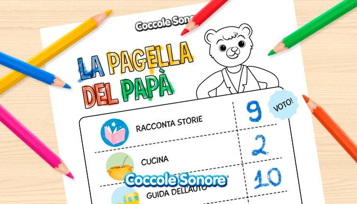 disegno da colorare festa del papà pagella del papà foglio con matite colorate su un tavolo