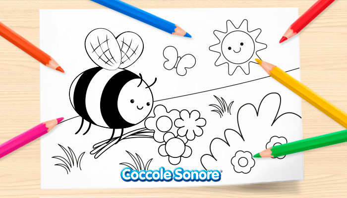 Disegni da colorare primavera, ape, coccole sonore