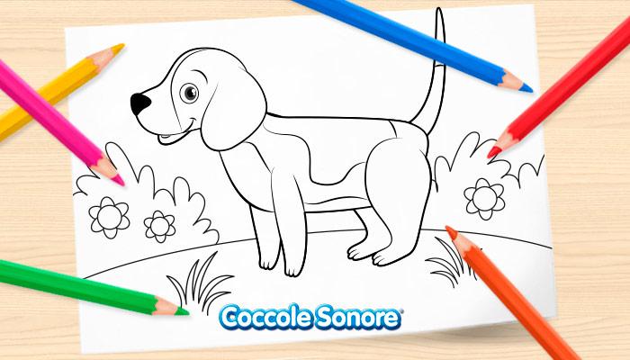 Disegni da colorare primavera, cagnolino, coccole sonore