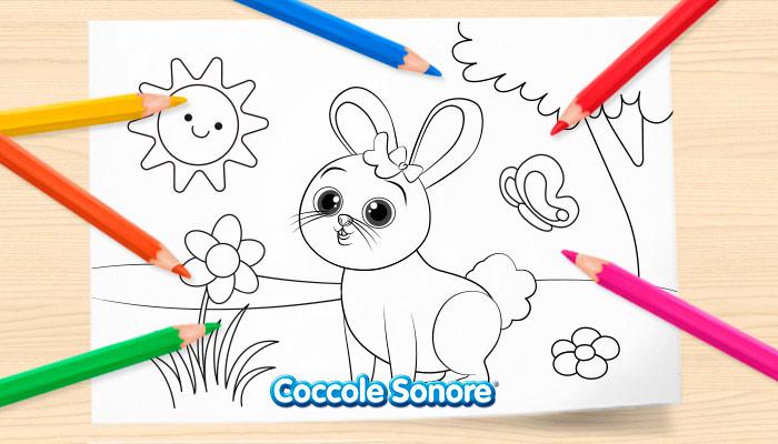 Disegni da colorare primavera, coniglietto, coccole sonore