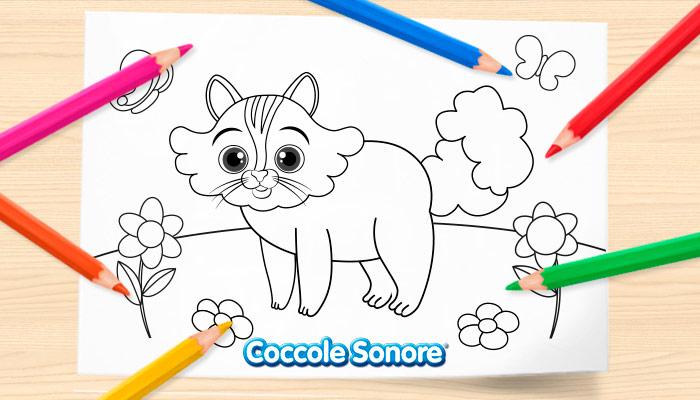 Disegni da colorare primavera, gattino, coccole sonore