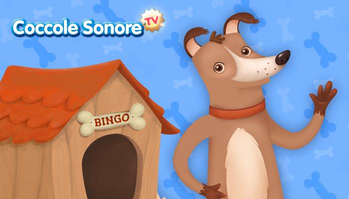 disegno del cagnolino bingo con la sua cuccia su sfondo azzurro