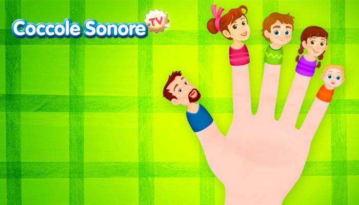 Grafica dita della mano con i visi della famiglia