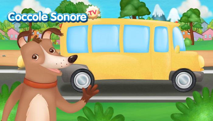 Disegno cagnolino e autobus giallo