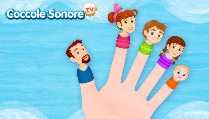 Disegno familia dedo, dita della mano con i componenti della famiglia, Coccole Sonore