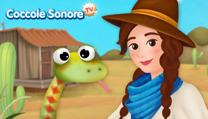 Disegno cowgirl, serpente, Coccole Sonore