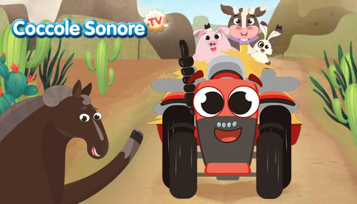 Trattorini impazziti Max e gli animali della fattoria trattore rosso con maialino mucca cavallo e coniglio