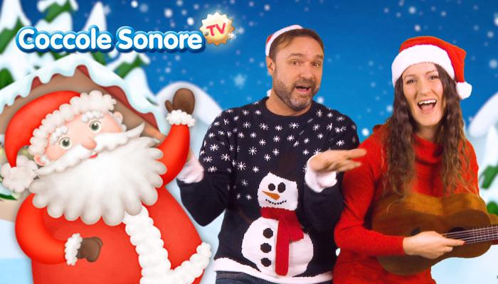 babbo Natale disegnato, Greta di Coccole Sonore, Stefano Fucili cantano