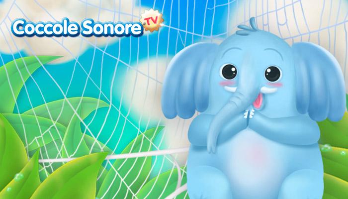 Disegno elefante sulla ragnatela, Coccole Sonore