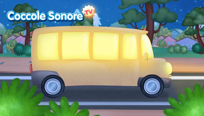 Disegno autobus giallo nella notte, Coccole Sonore