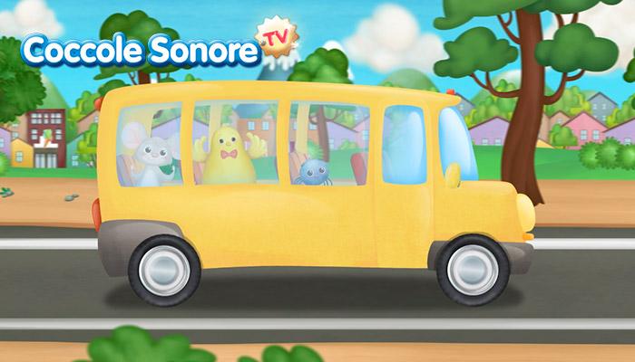 Disegno autobus giallo con animali a bordo, Coccole Sonore
