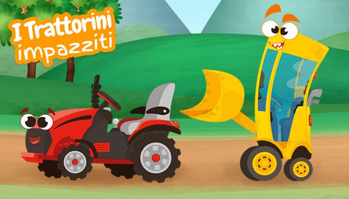 Disegno cartoon trattore rosso, ruspa gialla, serie trattorini impazziti