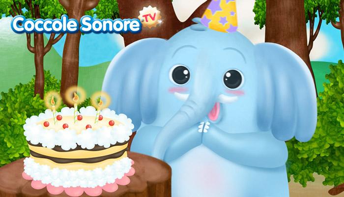 Disegno di elefante davanti alla torta con candeline, Coccole Sonore