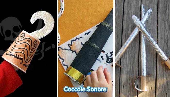 Maschera da pirata fai da te cannocchiale uncino spade fatto con rotoli di carta igienica e materiali di recupero coccole sonore