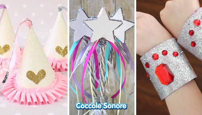 Maschere da Principessa e da Fatina fai da te cappello r bacchetta da fatina bracciali con glitter fatti con i rotoli di carta igienica
