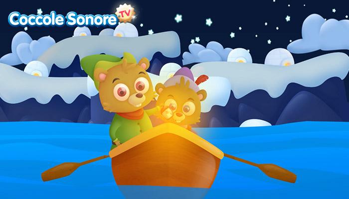 Disegno due castori in barca di notte, Coccole Sonore