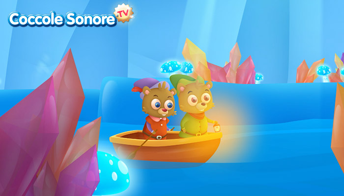 Disegno due castori in barca tra cristalli di ghiaccio, Coccole Sonore