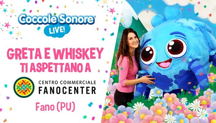 whiskey il ragnetto mascotte balla, greta, eventi coccole sonore centro commerciale fanocenter Fano