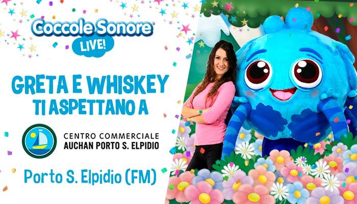 whiskey il ragnetto mascotte balla, greta, eventi coccole sonore centro commerciale auchan porto s. elpidio