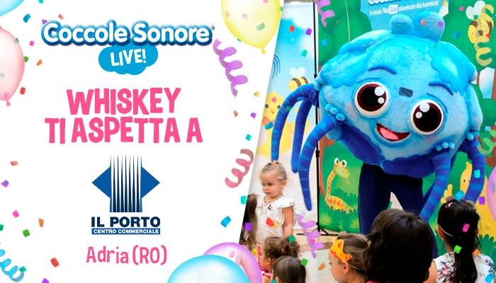 whiskey il ragnetto mascotte balla eventi coccole sonore centro commerciale il porto adria rovigo