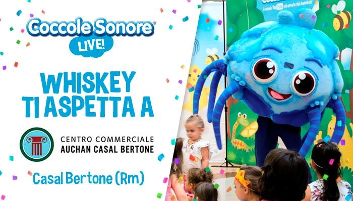 whiskey il ragnetto mascotte balla eventi coccole sonore centro commerciale auchan casal bertone roma