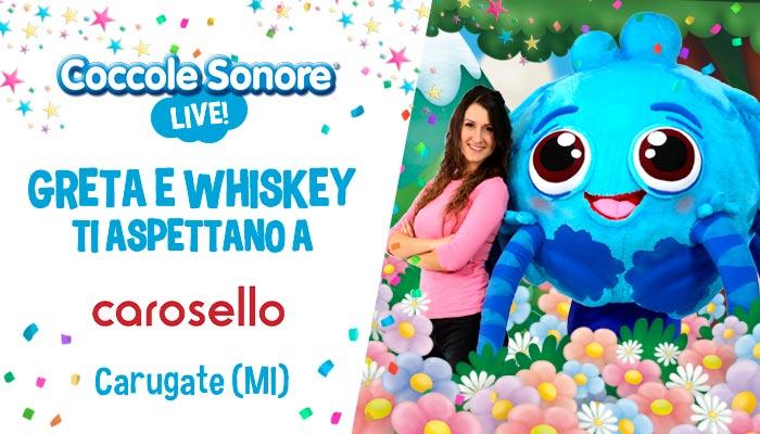 whiskey il ragnetto mascotte balla, greta, eventi coccole sonore centro commerciale Carosello Carugate (MI)