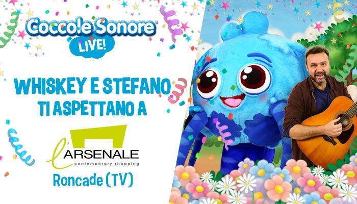 whiskey il ragnetto mascotte balla, stefano, eventi coccole sonore centro commerciale L'Arsenale Roncade (TV)