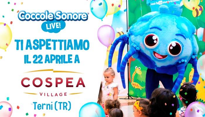 whiskey il ragnetto mascotte balla eventi coccole sonore centro commerciale cospea village terni 22 aprile