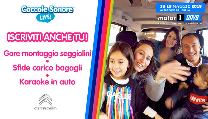 famiglia in auto Motor1Days, Coccole Sonore