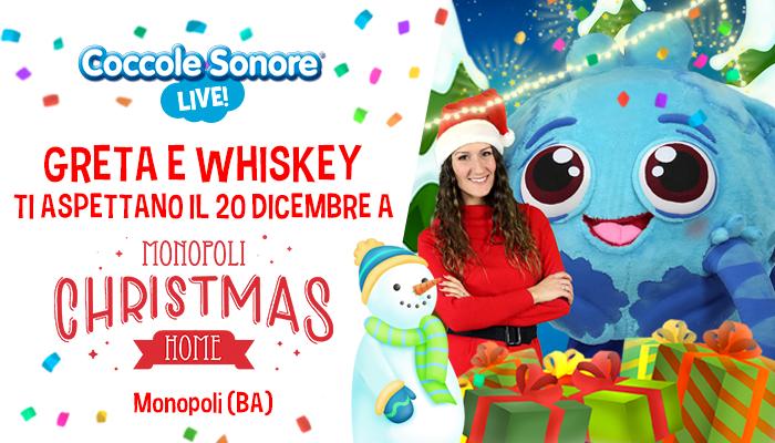 Monopoli Christmas Home, evento coccole sonore, natale con Greta e Whiskey il ragnetto