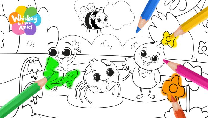 whiskey e i suoi amici bianco e nero, disegni da colorare