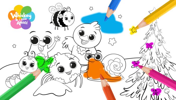 Disegni da colorare Natale , Whiskey e i suoi amici, serie Tv