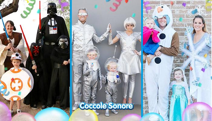 maschere di carnevale di famiglia, star wars, frozen, ufo