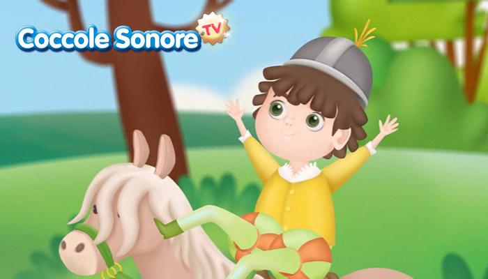 Disegno di bambino a cavallo, Coccole Sonore